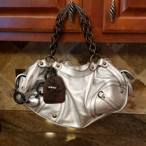 Juicy silver leather small hobo bag